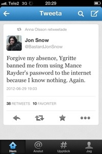 Bastard Jon Snow tweets an apology for his absence.