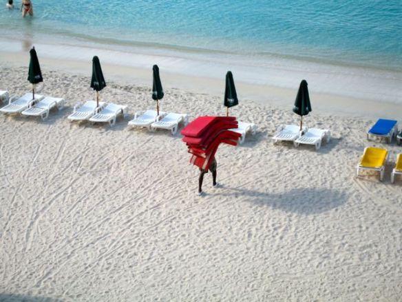 Morgonarbete på stranden.